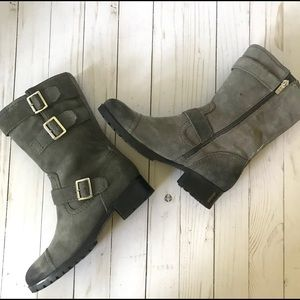 Marc Fisher Arianna Gray Suede Moto Boot Sz 7.5